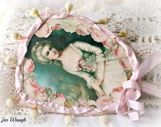 Zeus and Zoe: Altered vintage hand mirror by Jen Waugh