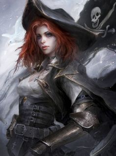 More fantasy themed redesign of the pirate queen Pirate Queen, Pirate Art, Pirate Woman, Steampunk Cosplay, Character Portraits, Character Art, Character Design, Character Reference, Character Ideas