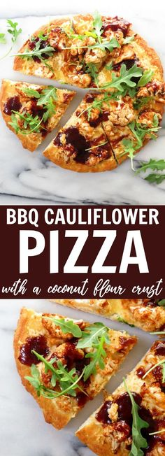 You'll love this sweet and tangy BBQ Cauliflower Pizza + Coconut Flour Crust recipe! The crust is low carb, gluten free, dairy free, and paleo!! Enjoy! thetoastedpinenut.com