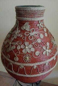 Centomilaidee: Damigiana decorata con la corda
