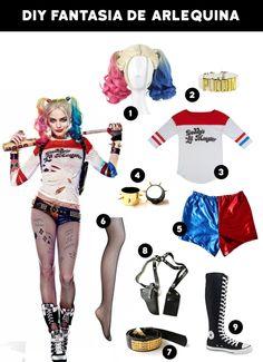 Fantasias para o Carnaval — 15 Ideias Fáceis! Harley Quinn Disfraz, Joker Und Harley Quinn, Harley Quinn Cosplay, Teenage Halloween Costumes, Halloween Outfits, Diy Halloween, Arley Queen, Harey Quinn, Harley Quinn Halloween Costume