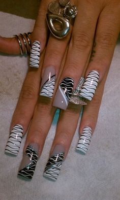 Zebra Crazy by AlysNails - Nail Art Gallery nailartgallery. from Nails Magazine www. Long Acrylic Nails, Acrylic Nail Art, Acrylic Nail Designs, Nail Art Designs, Fabulous Nails, Gorgeous Nails, Pretty Nails, Crazy Nails, Fancy Nails