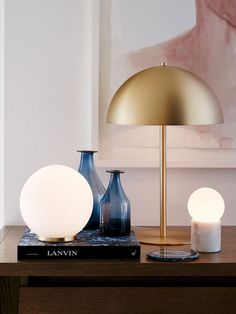 Design Lighting Ideas : Mondo Large Round Table Lamp in White/Brass Bedside Table Lamps, Desk Lamp, Lamp Table, Small Table Lamps, Modern Table Lamps, Small Bedside Lamps, Ikea Fado, Large Round Table, Luminaria Diy