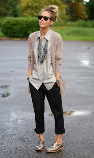 Black pants with grey-stripes blouse, sweater, an absolutely lovely necklace, and the oxford shoes