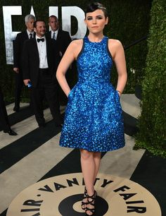 Ginnifer Goodwin in Monique Lhuillier, Vanity Fair Oscars Party Red Carpet 2013