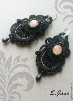 """Купить Серьги """"Сумерки"""" РЕЗЕРВ - серьги, розовый, серебристый, черный, авторские украшения, бусина"""
