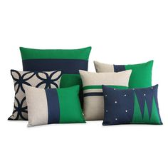 Kelly Green & Navy Blue Holiday Pillow Cover Set by JillianReneDecor