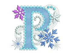 Ice Princess Applique Letter P Frozen  Cloth by EmbroideryLand