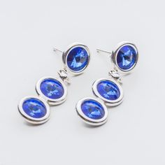 Swarovski Rivoli Earrings 6/6/6mm Sapphire  Dimensions: length: 3,2cm stone size: 6mm Weight ( silver) ~ 3,30g ( 1 pair ) Weight ( silver + stones) ~ 3,95g Metal : sterling silver ( AG-925) Stones: Swarovski Elements 1122 SS29 ( 6mm ) Colour: Sapphire 1 package = 1 pair  Price - 9 EUR Sterling Silver Earrings Studs, Silver Jewelry, Stud Earrings, Sapphire, Swarovski, Crystals, Stones, Colour, Ebay