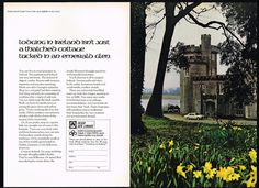 1971 Irish Aer Lingus Airlines Ireland Lough Cutra Castle Photo 2 Pg Vintage Ad | eBay