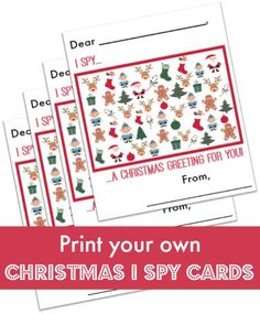 I Spy Christmas Cards! Printing these out for my son's class! Free printable