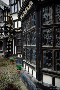 "Little Moreton Hall, Cheshire.   The name Moreton probably derives from the Old English mor meaning ""marshland"" and tune, meaning ""farm"", thus literally ""a farm at a marsh"". Little Moreton Hall first appears in the historical record in 1271, but the present building dates from the early 16th century."