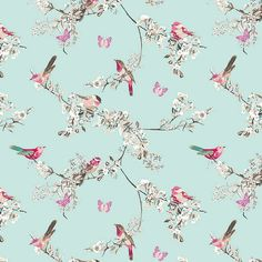 Beautiful Birds Duck-Egg Fabric | Dunelm