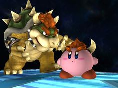 Kirby and the awesome Bowser =D