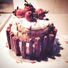 Super soft Genoise sponge with chocolate flakes, fresh cream, chocolate covered strawberries and melted chocolate (just in case you didn't get enough of the stuff!)