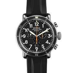 Shinola - Men's Watch - The Runwell Sport Chrono Black Dial with Black Rubber Strap Sport Watches, Cool Watches, Watches For Men, Men's Watches, Stainless Steel Bracelet, Stainless Steel Case, Shinola Detroit, Black Rubber, Chronograph