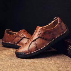 20b63325413 Men s Vintage Hand Stitcing Hook-Loop Genuine Leather Loafers - NewChic  Tied Shirt