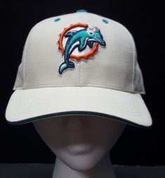 563607b91c0 Miami Dolphins NFL Football Beige Hat Size 6 7 8 Fitted Cap Embroidered  Logo
