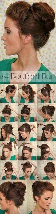Super Easy Updo Hairstyles Tutorials: Bouffant Bun to use on a bad hair day Updo Hairstyles Tutorials, Easy Updo Hairstyles, Pretty Hairstyles, Wedding Hairstyles, Hair Tutorials, Hairstyle Ideas, Summer Hairstyles, Latest Hairstyles, Medium Hairstyles