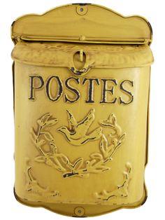 Boite aux lettres jaune antique Postes | Lintemporel-Deco.fr