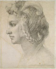 Michelangelo (1476-1564) ~ Study of a Head, the Marchioness of Pescara, c.1525-8, black chalk on paper, British Museum, London. The drawing was a presentation piece for the Marchioness; she is drawn in great detail with careful shading of the face area.