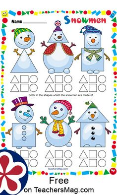 Snowmen Worksheet For this worksheet students color-in the shapes that each snowman is made out of. Shapes For Kids, Math For Kids, Preschool Worksheets, Kindergarten Activities, Classroom Crafts, Preschool Crafts, Teach English To Kids, Enchanted Learning, Christmas Worksheets