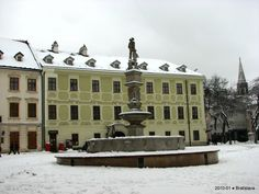 Snowfall in the old town Bratislava Slovakia, Old Town, Winter Wonderland, Old Things, Louvre, Mansions, House Styles, Building, Places