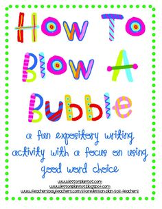 "A fun expository writing activity with a focus on using good word choice. Created by ""Lesson Plan SOS Teachers. Writing Lessons, Teaching Writing, Writing Activities, Teaching Ideas, Writing Prompts, Bubble Activities, Writing Resources, Teaching Materials, Teaching Tools"