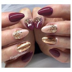 55 joyful christmas nails ideas manicure symbols and gold burgundy and rose gold nails prinsesfo Choice Image