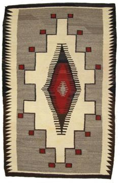 Navajo Rug/Weaving for auction. Beautiful vintage Crystal weaving with deep red accents and large central lozenge. Very good condition, a few minor stains. Native American Blanket, Native American Rugs, Native American Design, American Indian Art, American Indians, Navajo Art, Navajo Rugs, Motifs Textiles, Navajo Weaving