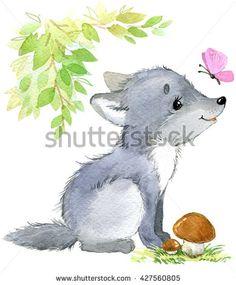 Wolf. Cute Wolf. Cartoon Wolf. watercolor animal illustration. Forest animal.