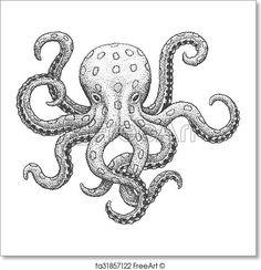 Octopus Drawing, Octopus Painting, Octopus Tattoo Design, Octopus Tattoos, Octopus Illustration, Gravure Illustration, Engraving Illustration, Octopus Decor, Octopus Art