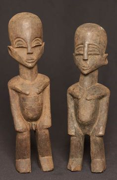 These Lobi figures were created to protect the people. The figure is not carved after a person, but after a spirit. They were usually placed on family altars. It protects the whole family from sickness and bad luck. It could also be used for divination and was past on from father to son.  Collected in 1980  Private collection. F.d.G in NL