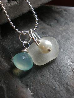 Ariel - Genuine Sea Glass Jewelry - Cluster Necklace
