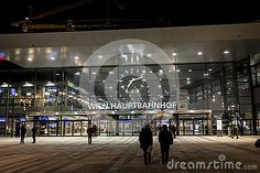 Main entrance of Vienna main railway station - in evening light.