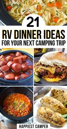 Easy and delicious RV dinner ideas for your next camping trip. These one pot meals offer easy clean-up, won't heat up the RV, and please the whole family! Ww Recipes, Crockpot Recipes, Dinner Recipes, Cooking Recipes, Dinner Ideas, Rv Camping Recipes, Camping Meals, Easy To Cook Meals, One Pot Meals