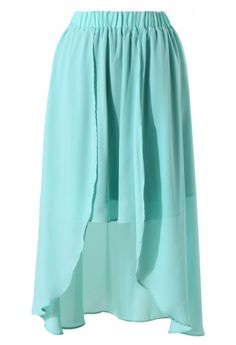 Mint Blue Waterfall Chiffon Skirt i've been loving high-lows all summer, such a cute color!