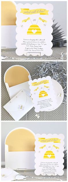 What Will It Bee gender reveal baby shower with sweet little bee themed DIY Paper Craft Party Invitations | @kimbyers TheCelebrationShoppe.com