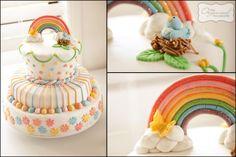 rainbow cake and birthday party