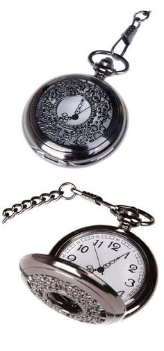 Pocket Watch Quartz Movement Black Case White Dial Arabic Numerals with Chain Half Hunter Vintage Design PW-22