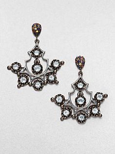 M.C.L by Matthew Campbell Laurenza Multicolor Sapphire and Blue Topaz Chandelier Earrings (=)