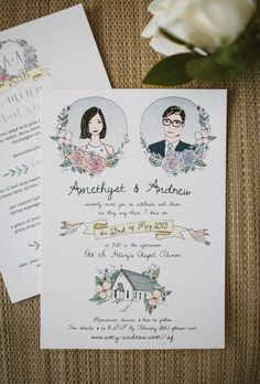Custom couple portrait invites are quirky + memorable.