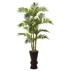 Nearly Natural 62 in. Areca Tree with Decorative Planter -- Want additional info? Click on the image.