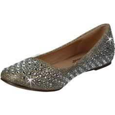 5d266ab4d3f2 Fabulicious Round Toe Ballet Flat Glitter Fabric Rhinestone Shoes Treat-06  Nude