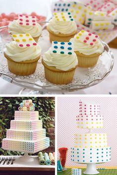Retro Candy Button Wedding Cakes