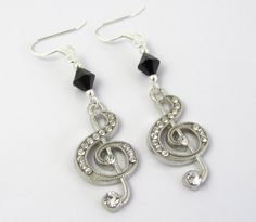Black Music Earrings Music Earrings Treble Clef by BeadBrilliant, $20.00