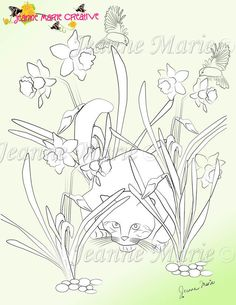 Daffodil Cat Fantasy Adult Coloring Page Digital Stamp Colouring Download