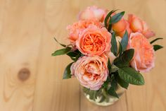 Peach bouquet of david austin roses by Wedphoto on Creative Market