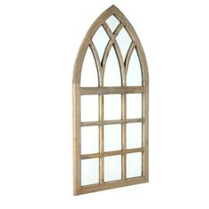 a weathered wooden arch window frame type mirror Cathedral Mirror, Cathedral Windows, Arched Wall Decor, Window Wall Decor, Arch Mirror, Window Mirror, Wall Mirrors, Window Frames, Wooden Arch