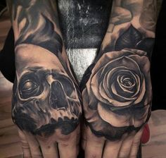 80 Skull Hand Tattoo Designs For Men - Manly Ink Ideas Tattoo Scull, Skull Rose Tattoos, Skull Hand Tattoo, Rose Tattoos For Men, Hand Tats, Hand Tattoos For Guys, Unique Tattoos, Sick Tattoo, Badass Tattoos
